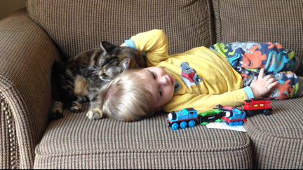 Baby lying on the couch with Atlas the cat